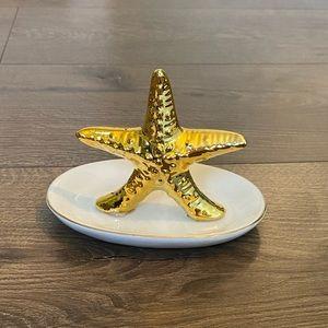 Gold Starfish White GoldLined Trinket Jewelry Dish